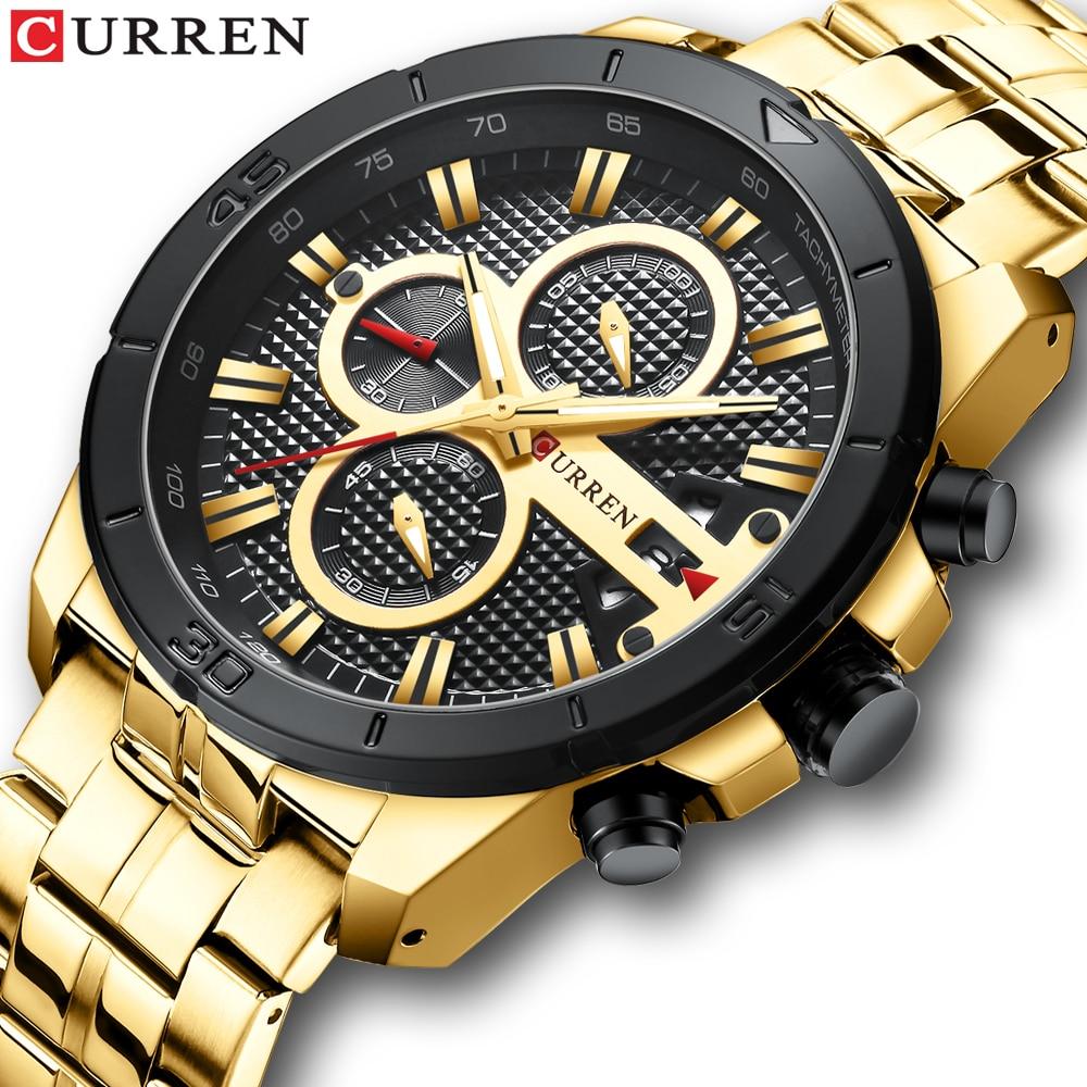 CURREN Элитный бренд Нержавеющаясталь спортивные часы Для мужчин Новый хронограф Наручные часы модные Повседневное Дата кварцевые часы Для мужчин s часыКварцевые часы   -