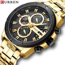 Marca de lujo CURREN, acero inoxidable deportes reloj de los Hombres Nuevo cronógrafo de pulsera de moda fecha Casual reloj de cuarzo relojes para hombre