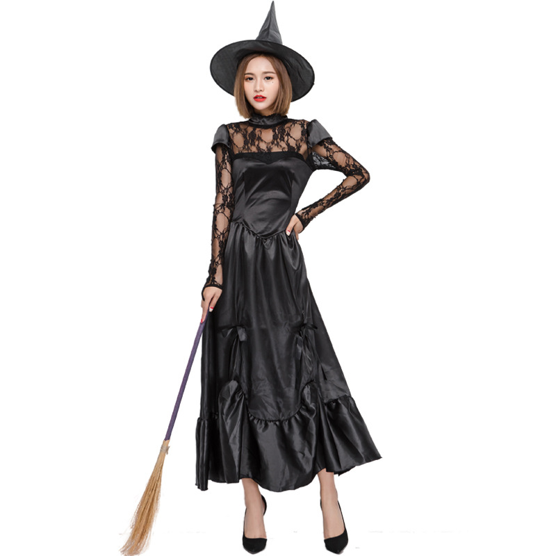 Free Shipping Black Dress Costume Witch Vampire Costume Women Masquerade Halloween Party Cosplay Costume