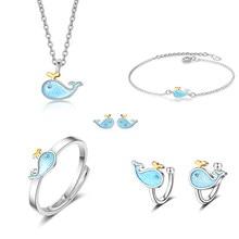 XIYANIKE 925 Sterling Silber Koreanischen Stil Blau Fisch Kleine Wal Nette Marine Tier Schmuck Sets Für Frauen Mädchen Geschenk NE + RI + BR + EA