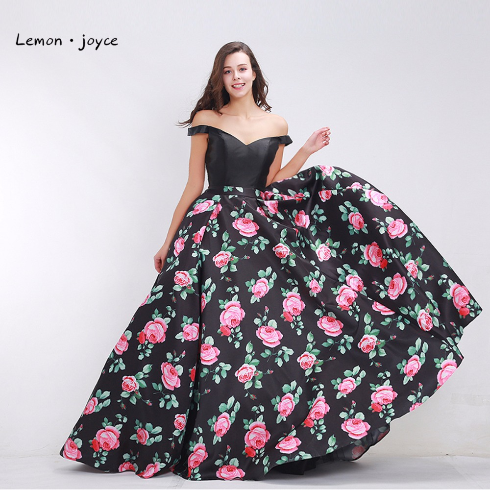 Black Prom Dresses 2019 Fashionable Off the Shoulder Elegant Floral Print A line  Maxi Long Women s Formal Dress Plus Size-in Prom Dresses from Weddings ... 65946a4b6dd0