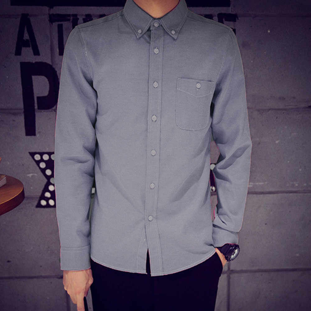 740ddbcd24c ... XL 2XL 3XL 4XL Large Size Men s Business Casual Long Sleeved Shirt  White Blue Black Smart ...