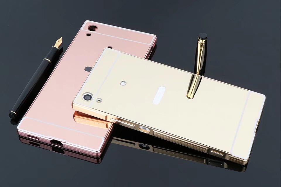 Гальванизируйте Роскошные Алюминий металла Рамки зеркало акрил задняя крышка 2 в 1 съемный чехол для Sony Xperia xa1 Ультра