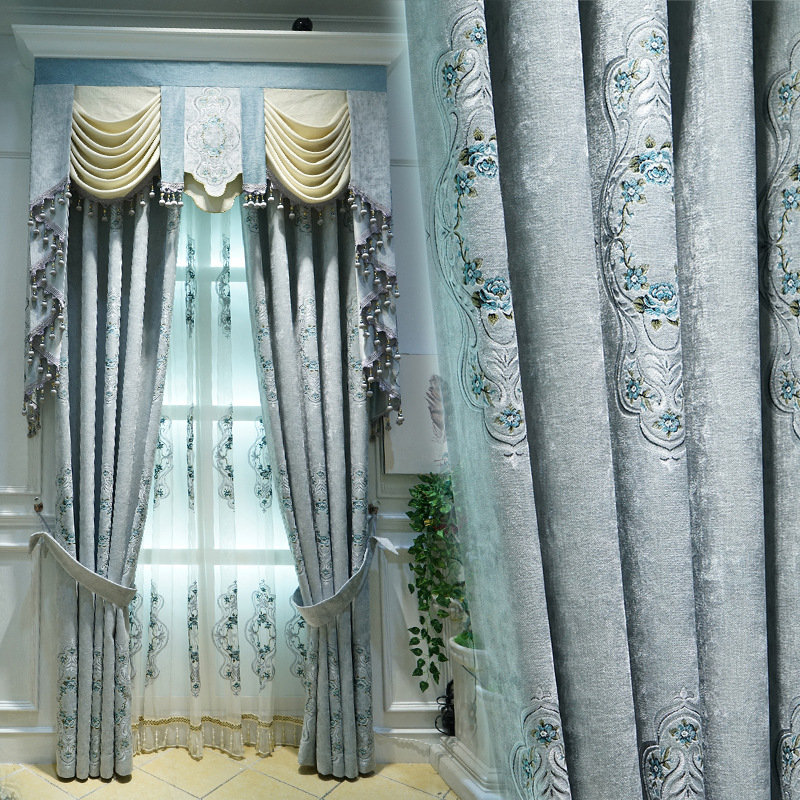 Premium Chenille Jacquard Curtains For Living Room Shading Curtains European Curtain For Bedroom Valance