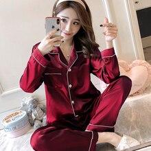 2020 Autumn New Women Silk Satin Pajama Sets Long Sleeve Sleepwear Set Two pieces Pijama Pajamas Suit Female Breathable Pyjamas