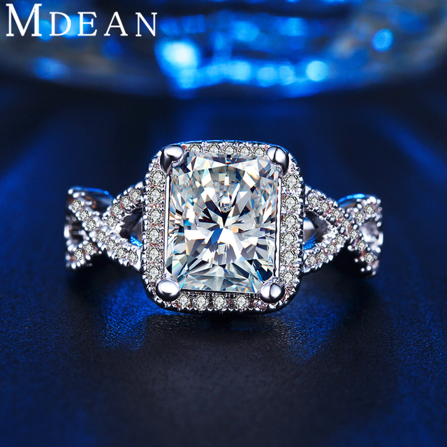 MDEAN White Gold Color Rings for Women Wedding Ring Women Rings Clear AAA Zircon Jewelry Fashion Ring Size 5-12 MSR136 2