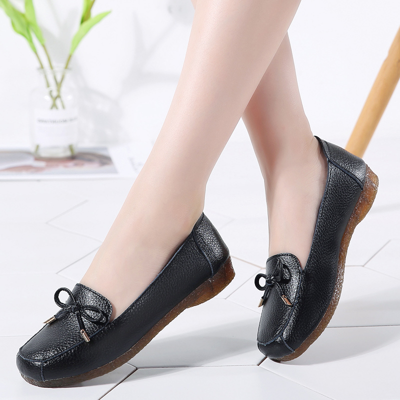 AARDIMI 2018 New Autumn Genuine Leather Women Flats Shoes Square Toe Slip On Flat Shoes Woman Butterfly-knot Female LoafersAARDIMI 2018 New Autumn Genuine Leather Women Flats Shoes Square Toe Slip On Flat Shoes Woman Butterfly-knot Female Loafers