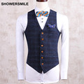 Mens Suit Vest  Sleeveless Jacket Plaid Gilet Slim Fit Beige Navy Spring Veste Stylish Waistcoat  Male Clothing M-4XL
