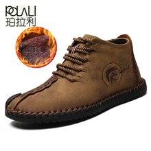 0b9cb7ff7 POLALI Manter Homens Quentes de Inverno Botas Dividir Couro de Alta  Qualidade Homens Sapatos Casuais com