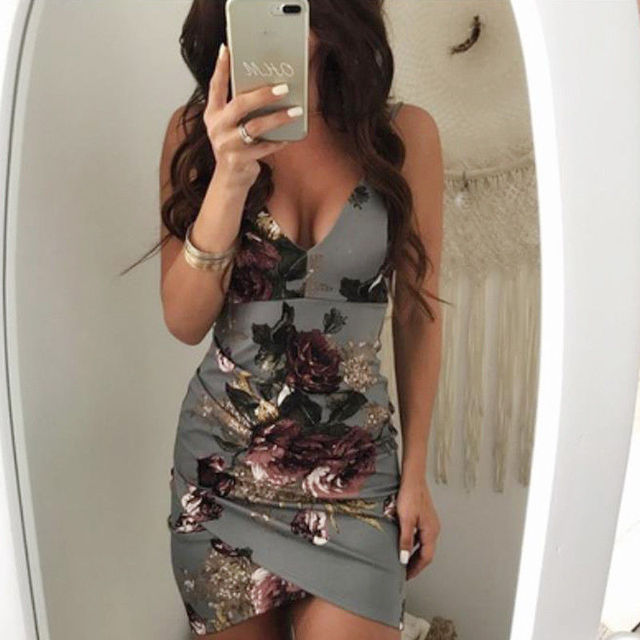 Fashion Sexy Summer Evening Party Women Ladies Sleeveless V-Neck Ruched Floral Print High Waist Skinny Mini Dress 2 Colors