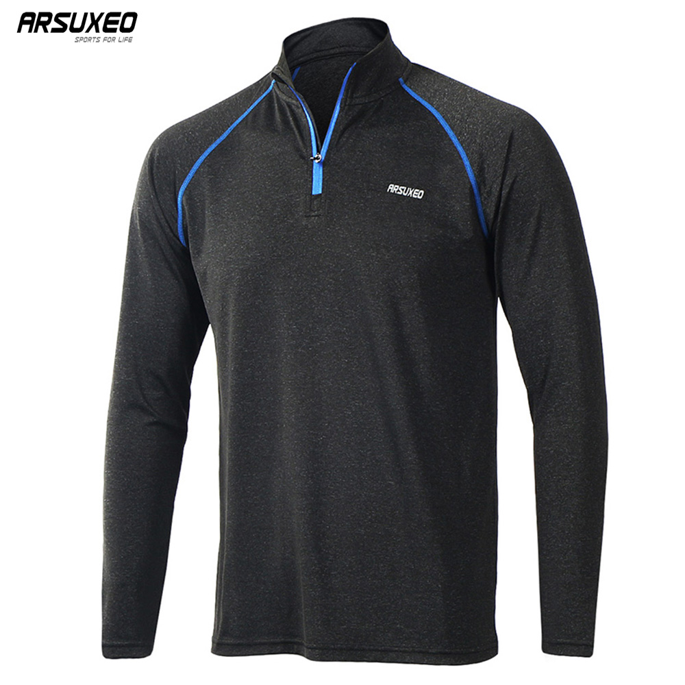 ARSUXEO Men's Running T Shirts Tee Active Long Sleeves Quick Dry Training Jersey Sports Clothing Workout GYM Shirt M17T1