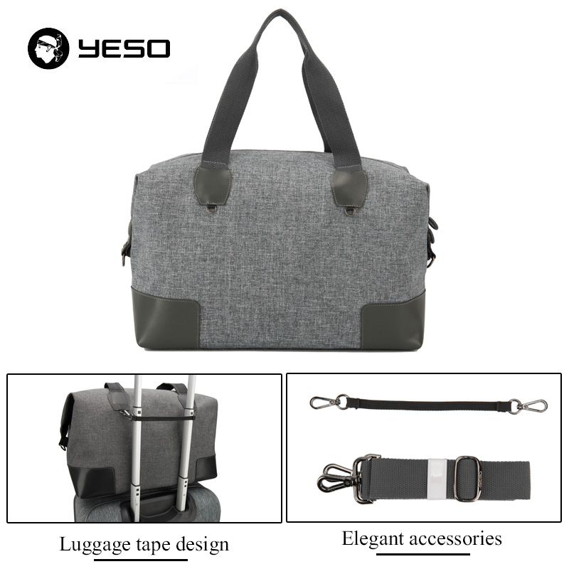 YESO Men Large Capacity Travel Bags Canvas Leather Sexual Business Luggage Bags Women Duffel Bags High Quality Travel Totes Bag
