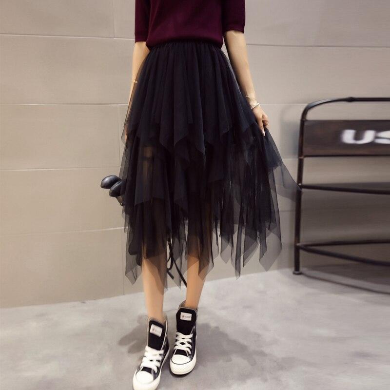 Aliexpress.com Acheter 2017 automne irrégulière balayage midsweet  patchwork gaze buste jupe taille haute tulle fairy jupes femmes noir XY2009  de fairy