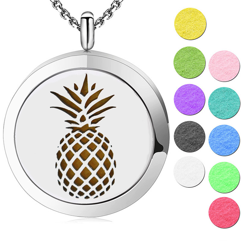 цена на 10pcs Aomatherapy Locket Jewelry Pineapple Magnetic Essential Oil Diffuser Locket Necklace Pendant Perfume Locket For Women