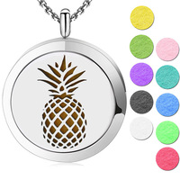 10pcs Aomatherapy Locket Jewelry Pineapple Magnetic Essential Oil Diffuser Locket Necklace Pendant Perfume Locket For Women