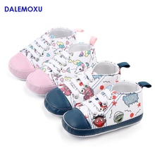 DALEMOXU Baby Shoes Cartoon Unicorn Canvas Sports Sneakers Non-slip Summer Walking Casual For Boy Girls 0-1 Year Old