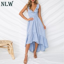 NLW Blauw Gestreepte Zomerjurk Ruches Peplum Lange Jurk 2019 Vrouwen V-hals Backless Sexy Jurk Chic Backless Beach Party vestidos(China)