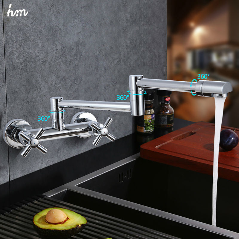 100 Brass Chrome Fold Kitchen Faucet Extension Hot and Cold Water Kitchen Faucets Mixer Tap Sink Folding Bar Sink Faucets hm in Kitchen Faucets from Home Improvement