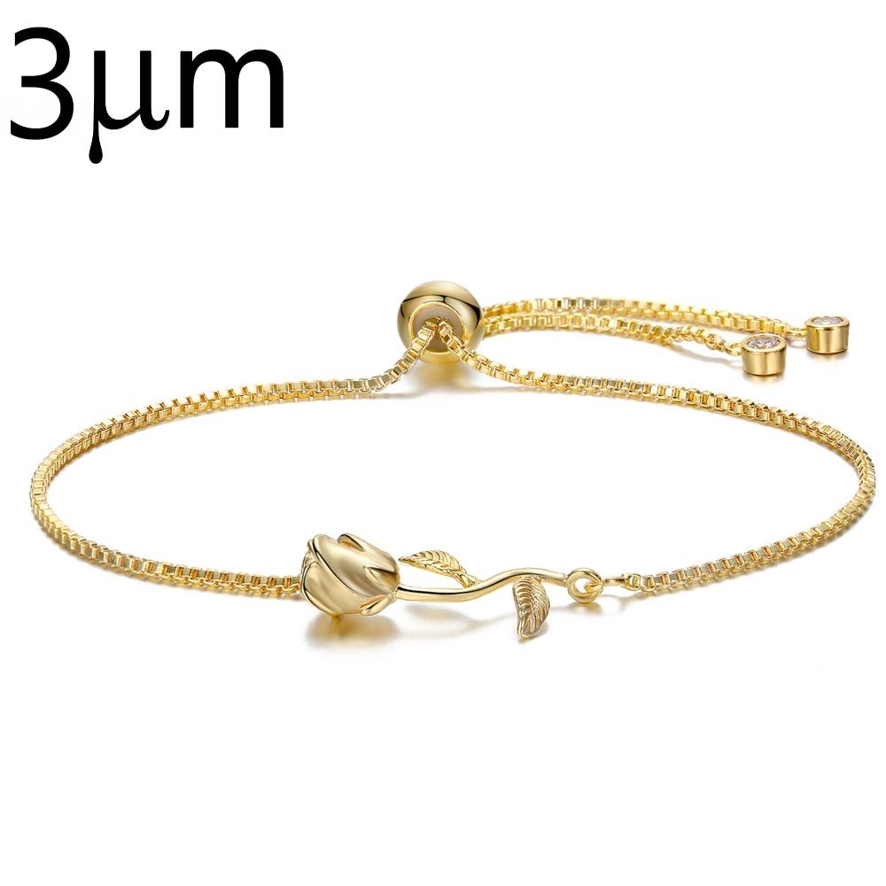 3UMeter Adjustable Rose Bracelet Beauty Beast Forever Love Final Rose Flower Chain Bracelet Wedding Bridal Jewelry