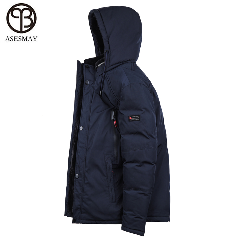 Asesmay brand men down jacket men's winter coat thickening warm   parkas   detachable fur snow padded winter coat men free shipping
