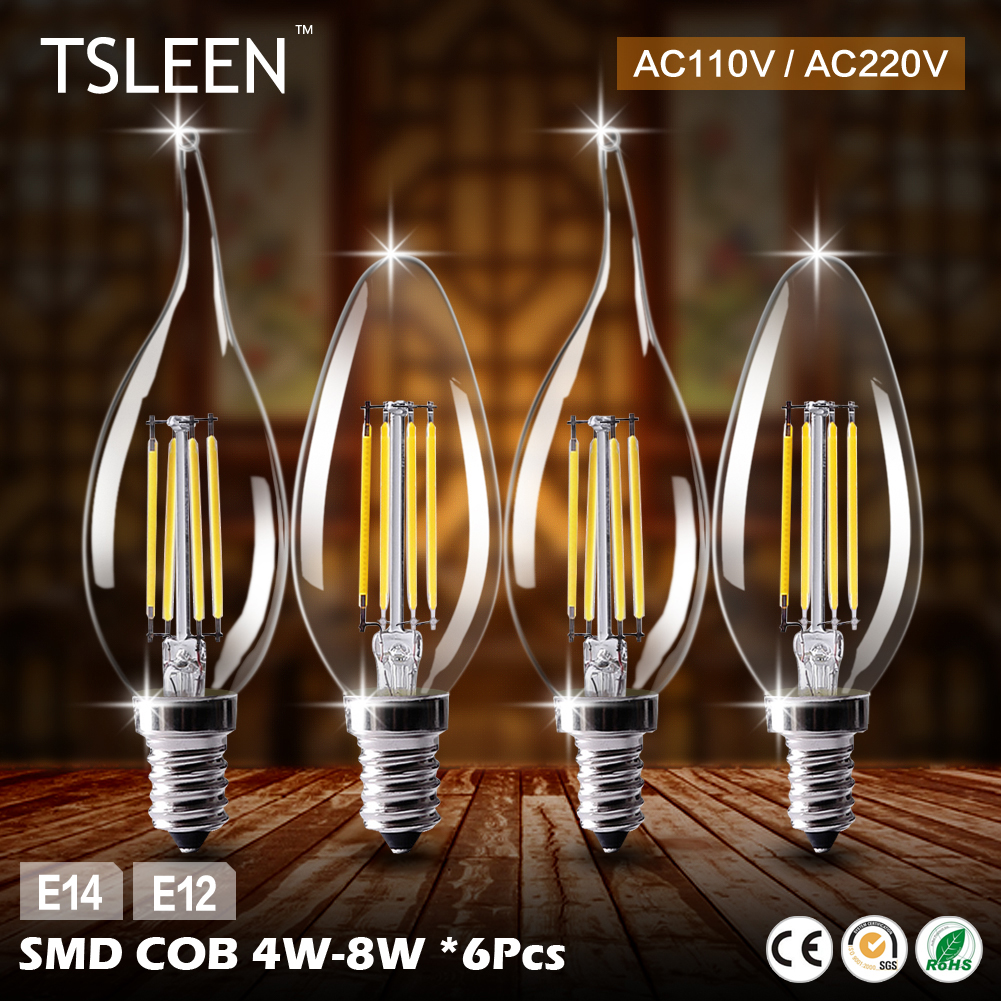 Cheap 6X Style Edison Filament E12 E14 LED Lamp LED Lights Corn Led Bulb 110v 220v Chandelier Candle Lighting Home Decoration vintage clothing store personalized art chandelier chandelier edison the heavenly maids scatter blossoms tiny cages