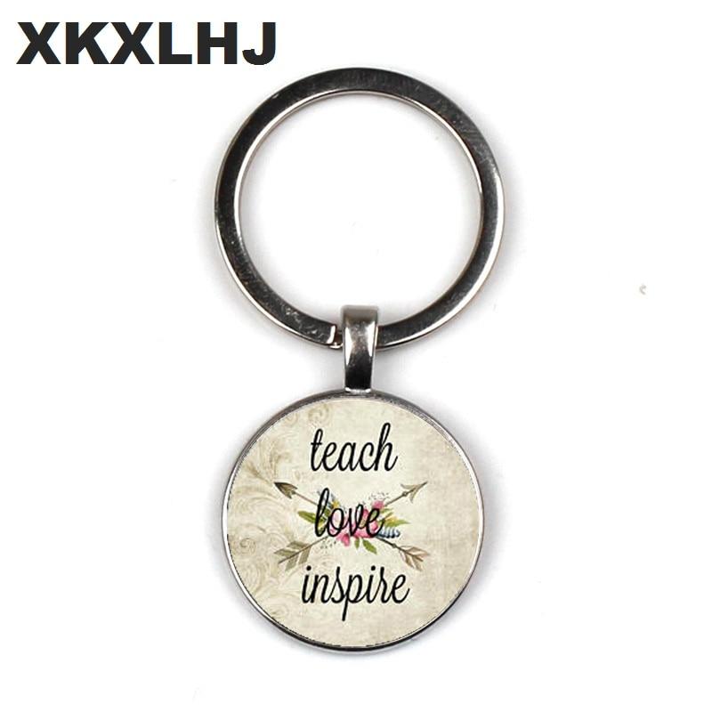 Teaching love mind, teacher jewelry, teaching to stimulate charm, gift, day care provider charm keychain
