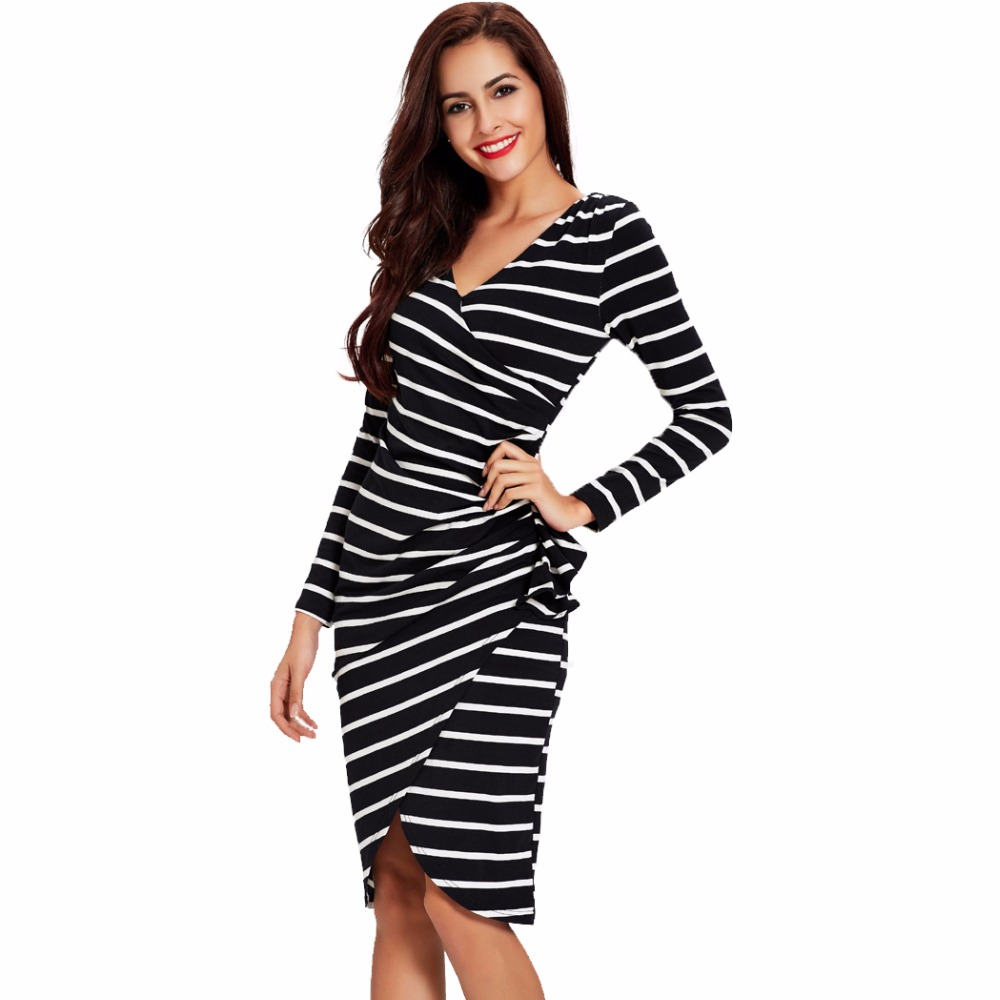 Women autumn dresses sexy deep v neck black striped one-piece long sleeve  bodycon office women work dress Knee Length SD11