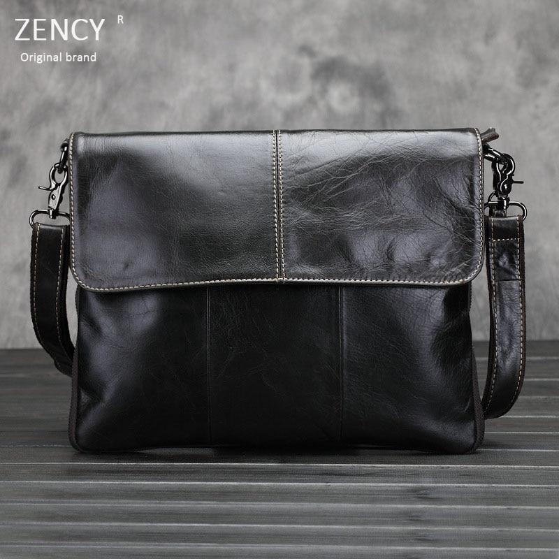 ZENCY Brand Oil Wax Leather Men Bag Genuine Oil Wax Leather Shoulder Bags Men Messenger Bags Crossbody Bag Mens Handbag