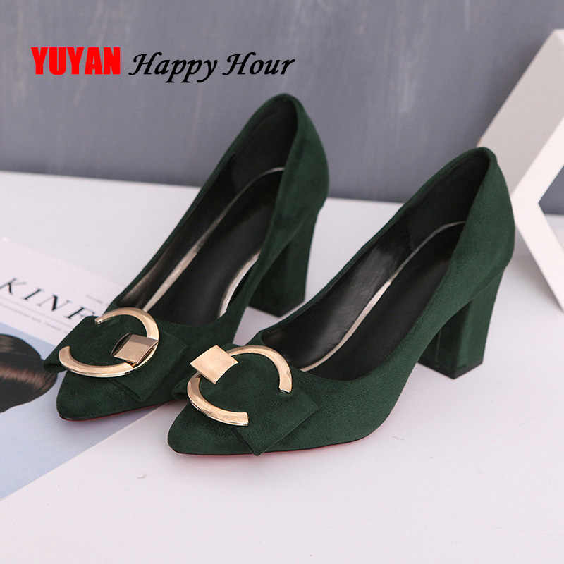 Sexy High Heels Women Pumps Pointe Shoes 2019 Spring Women Square Heel Shoes Woman Shoes High Heel 7.5cm A649