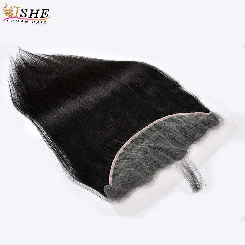 Прозрачный кружевной фронтальной прямые волосы 13x4 уха до уха прозрачный швейцарское кружево заказ с сеткой перуанские человеческие волосы черного цвета для Для женщин ишё