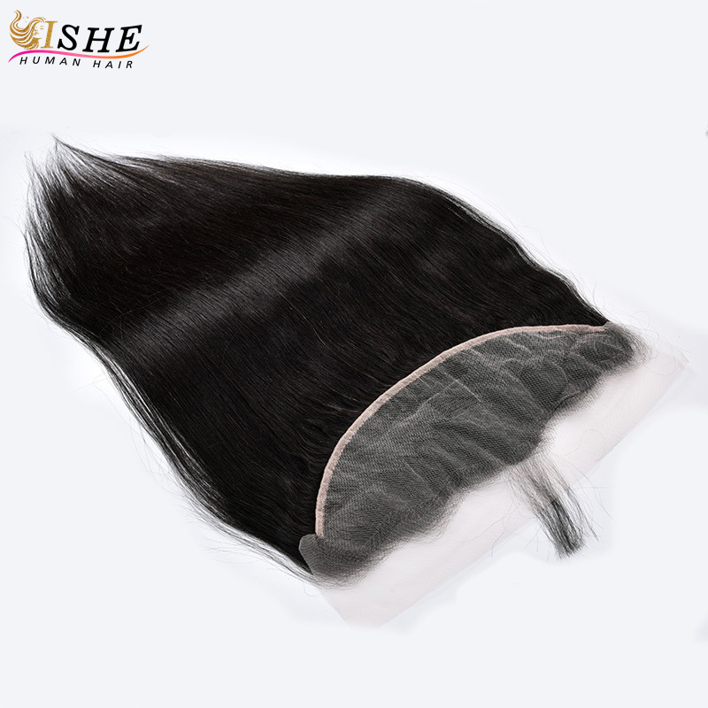 Transparent Lace Frontal Straight 13x4 Ear To Ear Clear Swiss Lace Closure Pre Plucked Peruvian Human Hair Black For Women ISHE