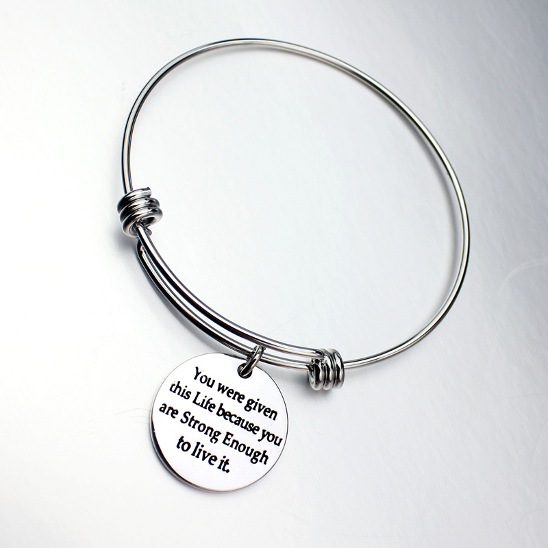 Initial Jonc Bracelet Gravure Stainless Steel Expandable Wire ...