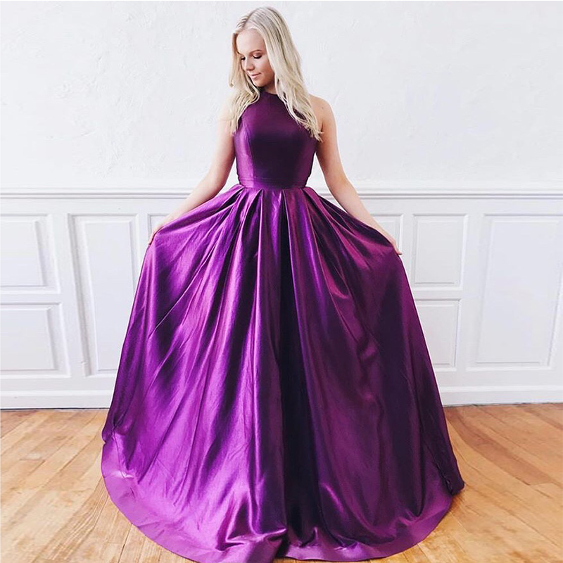 Simple A-line   Prom     Dresses   Dark Purple Satin Vestidos De Formal   Prom   Gowns Crisscross Back Women Formal   Prom   Party   Dresses   New