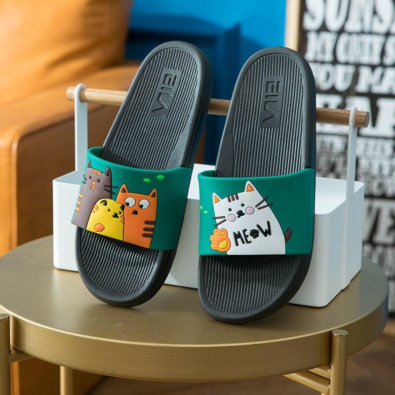Cute Animal Summer Slippers Women Slides Cartoon Cat Home Slippers Slip On Sandals Women Shoes Flip Flops Zapatillas Mujer