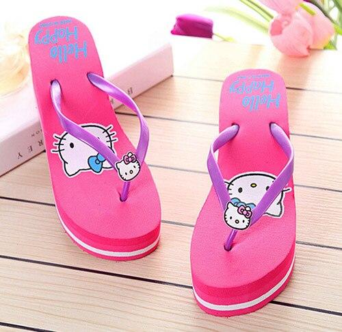 2653e2e77 Summer Hello Kitty lovely fashion women platform sandals 2015 Beach home flip  flops slippers wedges sandals 4colors choosing