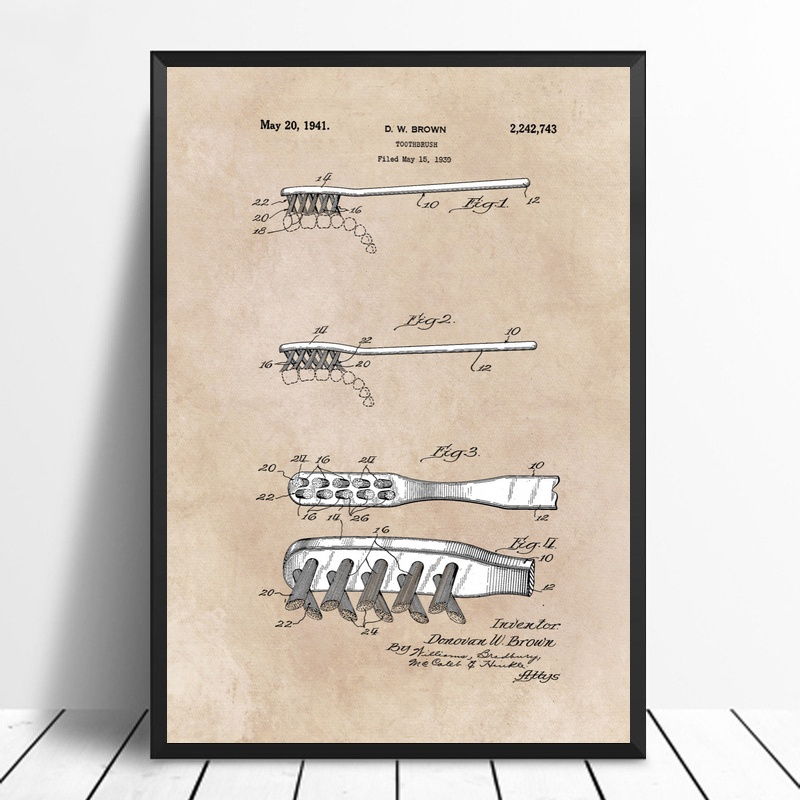 Patent Art Brown Toothbrush Patent Art Poster Canvas Prints No Frame image