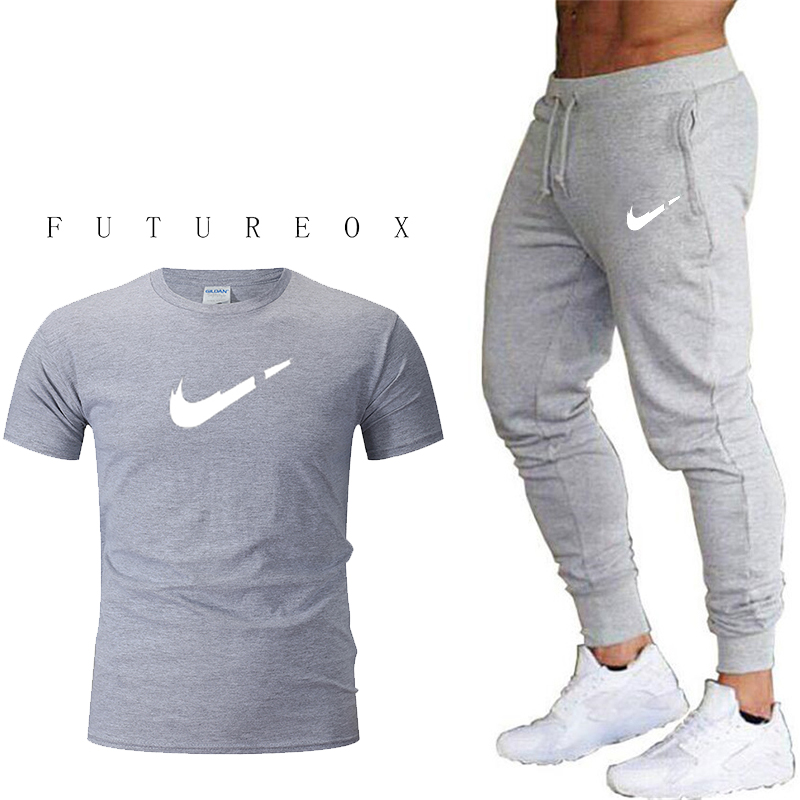 Spring New Mens Gyms Fitness Skinny Sweatpants Trousers Joggers Workout Sportswear Male Casual Fashion Brand Pants Bottoms+T