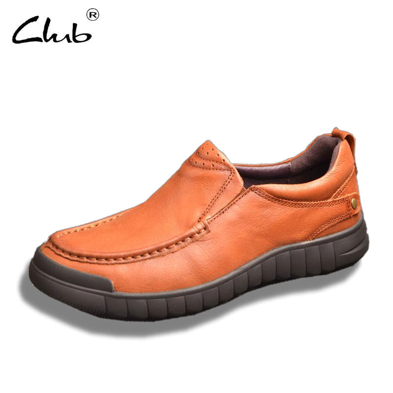 Club Men Shoes Genuine Leather Slip-on Casual Shoes Breathable Mens Loafers Large Sizes Leather British Shoes Zapatillas Hombre mens women golf shoes genuine leather shoes british style waterproof breathable free shipping