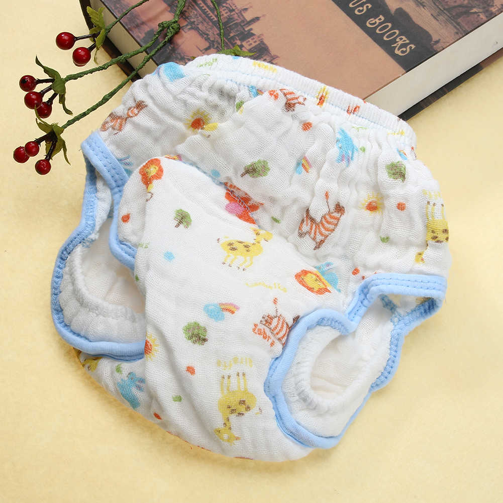 Baby Wash Gauze Anti-side Leakage Cloth Diaper Baby Cartoon Lion Printing Learning Pants Washable Diapers Suit 0-12M FCI#