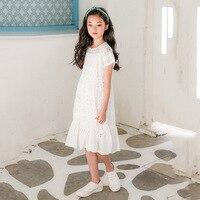 8 9 11 13 14 Years Old Girls Dress Fashion Kawaii Cute Lace White Roupas Infantis Menina Short Sleeve England Princess Dress