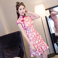 Fashion Summer Women's Mini Cheongsam New Arrival Chinese style Lace Dress Elegant Qipao Vestidos Size S M L XL XXL 1Z5841