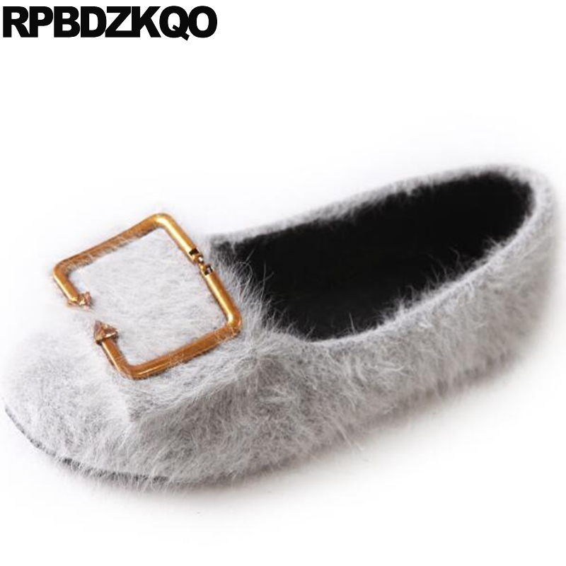 Flats Driving Spring Autumn Metal Designer Shoes China Suede Round Toe Women Chinese Fur Slip On Grey Drop Shipping Fashion vintage embroidery women flats chinese floral canvas embroidered shoes national old beijing cloth single dance soft flats