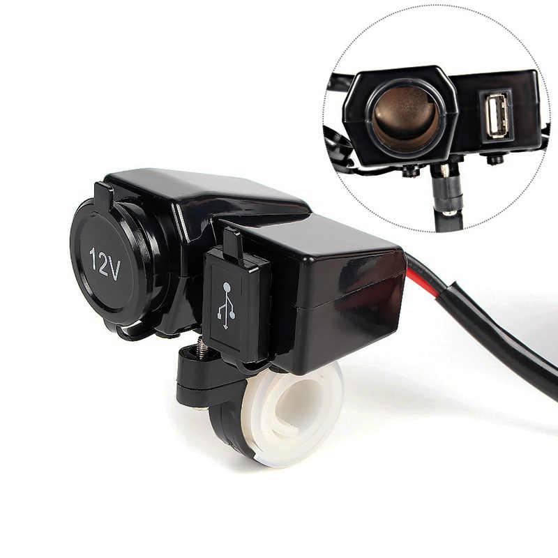 Dual USB Car Charger Motorcycle Plug 2 USB Adaptor + 12V/24V Cigarette Lighter Socket LED + Digital Voltmeter 3.1A/ 4.2A Charger