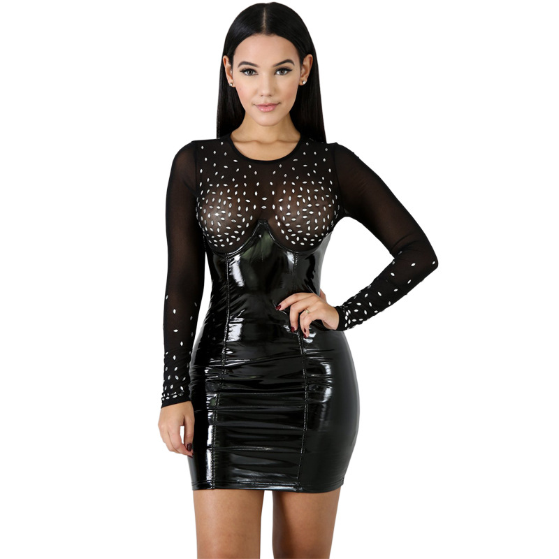2019 Full Sleeve perspective Mesh Diamonds women new Dress Spring Fashion Bandage Beach Nightclub Mini dress vestidos CY8061