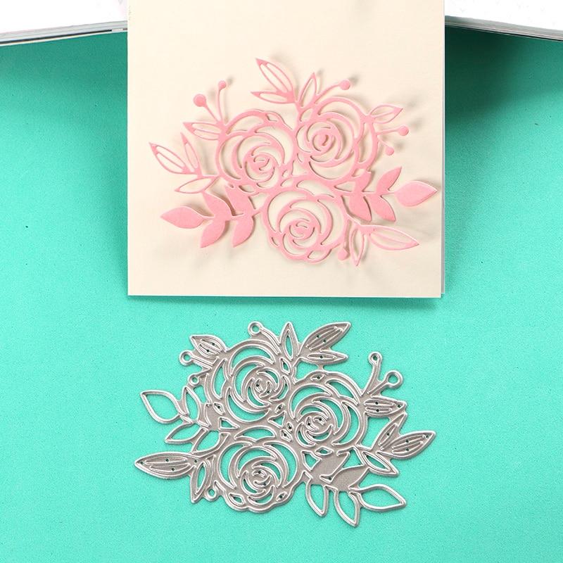 Duofen Metal Cutting Dies 2pcs Set Rose Leaf Stencil For Diy Papercraft Project Scrapbook Paper Album Arts,crafts & Sewing