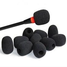 10 قطعة التلبيب ميكروفون سماعة الرأس هيئة التصنيع العسكري الزجاج الأمامي رغوة ميكروفون يغطي اللون الأسود