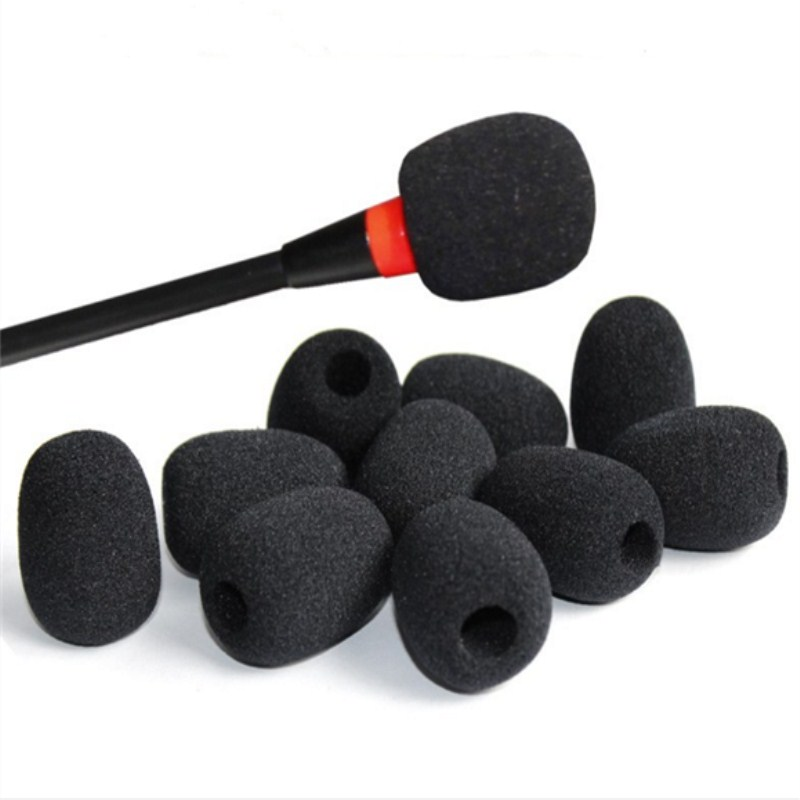 10Pcs Lapel Headset Microphone Mic Windscreens Foam Microphone Covers Black Color 30*22*8mm