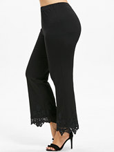 Women's Loose Plus Size Crochet Scalloped Pants with High Waist