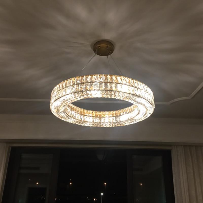 Luxury Crystal Chandelier RH K9 Pendant Lamp LED Lighting Hotel Luminaire Loft Industrial Fixture Home Lustre De Diningroom