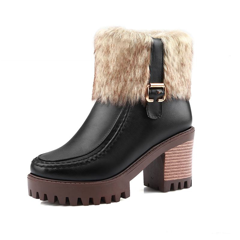 ФОТО Big Size 34-44 Fashion Shoes Buckle Fur Ankle Boots Zip Hot Thick High Heels Platform Shoes Woman Winter Boots For Women